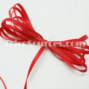 "Wedding Ribbon Solid Satin Ribbon Double Faced 1/8""(3mm) x 100YDS Red - B4001RD"