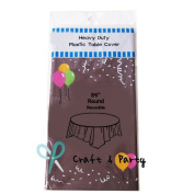 (12-pack) Brown (Round) Plastic Table Covers 210cm D TABLECLOTH