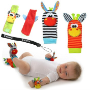 Estone® Animal Infant Baby Kids Wrist Rattle & Foot Finder Set Developmental Soft Toys
