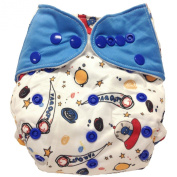 """HappyEndings """"Night, Night""""TM AIO Nappy w/ a Sewn-in 4 Layer Bamboo Soaker and Pocket Option & a Long 5 Layer Charcoal Bamboo Insert """"Space"""""""