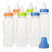 Evenflo Feeding Classic Twist Clear Bottles, Green/Blue/Orange, 240ml