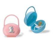 BABY Portable Pacifier Case with STERLING SILVER BEAR. Made in Iatly