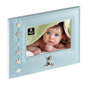 Blue Leather Photo Frame with Decorative Buttons