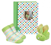 Stephan Baby Mini-Dot Photo Brag Book, Boo Bunnie and Bootie Socks Gift Set, Green