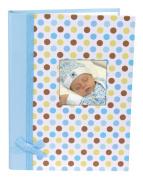 Stephan Baby Keepsake Mini-Dot Photo Brag Book with Ribbon Embellishment, Blue