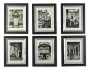 Black White Paris Scene I Ii Iii Iv V Vi - Set Of 6