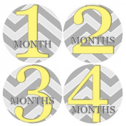 ZIG ZAG YELLOW GREY CHEVRON Baby Month Onesie Stickers Baby Shower Gift Photo Shower Stickers, baby shower gift by OnesieStickers