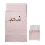 (4) Piece Crib Baby's Crib Linen Gift Set ~ (1) Pale Pink and White Gingham Duvet Featuring a Teddy Bear, a Monkey, Books, & Toys in the Design, (1) Pale Pink Solid Sheet, (1) Matching Gingham Pillowcase & (1) Pale Pink Solid Crib Skirt