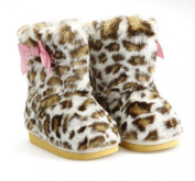 Super Cute Leopard Furry style baby Girls Boot Shoes with pink bow