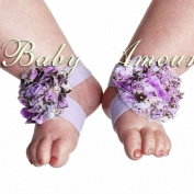7# Hot Baby Girls Shabby Chiffon Barefoot Rose Flower Sandals Shoes Toe Blooms