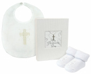 Stephan Baby Inspirational Keepsake Mini Photo Album, Cross Bib and Bootie Socks Gift Set, My Christening Day, 0-6 Months
