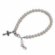 Sterling Silver Children's Pearl Bracelet with Cross for Girls Gift, Birthday Gift or Baptism Gift