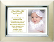 """Baby Baptism Gift from Grandparents, Godparents, etc - """"Precious Gift From God Above"""" - In Gold Metallic 13cm x 18cm Frame with Room for Photo"""