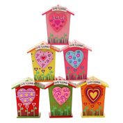Set of 3 [Colourful Heart] Wooden Coin Bank for Kids(2.7*2.3*11cm )Random Style