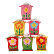 Set of 3 [Colourful Flower] Wooden Coin Bank for Kids(2.7*2.3*11cm )Random Style