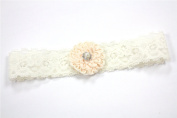 Ivory Stretch Band with Peach Flower and Pearl