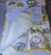 Super Soft Sherpa Baby Blanket 80cm x 100cm Reversible White - Sweet Zoo Unisex