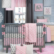 Swizzle Pink 4 Piece Baby Crib Bedding Set by Sweet Potato