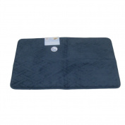 Tranquilly Luxurious Memory Foam Dark Blue Bath Mat Skid Resistant Rug 20x32