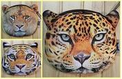 3PCS Wild Beast Cute Change Purse Coin Wallet Jitney bag Lion Tiger Leopard