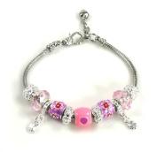 Athena Jewellery Murano Glass Bead SilverTone Pink Heart Snake Bracelet