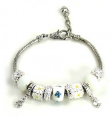Athena Jewellery Murano Glass Bead SilverTone White Snake Chain Bracelet