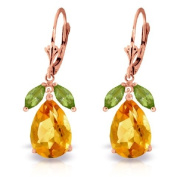 14K Solid Gold Leverback Earrings with Peridots and Citrines