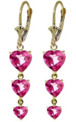 14K Solid Gold Chandelier Earrings with Pink Topaz