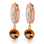 14K Solid Gold Hoop Earrings with Diamonds and Citrines