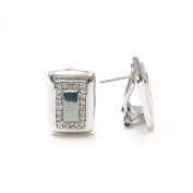 .925 Sterling Silver Rectangular CZ Pave Omega Back Earrings