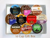 10 Cup MEDIUM ROAST Coffee GIFT BOX Sampler! 10 Single Serve Cups. MEDIUM Roast COFFEE! Perfect GIFT!