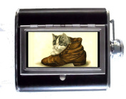 Kitten Cat in Shoe, Sweet Victorian Art, Cute 150ml Stainless Steel & Leather Hip Flask with Built-In Cigarette Case