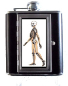 Victorian Skeleton Gothic Graphic Medical Art 150ml Stainless Steel & Leather Hip Flask with Built-In Cigarette Case