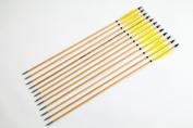 Longbowmaker One Dozen Yellow Turkey Feathers Cedar Wood Target Practise Arrows W3YT2