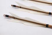 Longbowmaker One Dozen White Turkey Feathers Bamboo Shaft Target Practise Arrows BWT2