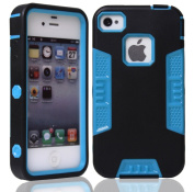 Rosepark(TM) Iphone 4S Case, Hybrid Plastic + Silicone Tuff Dual Layer Armoured Case for Apple iPhone 4 4S 4G (Black+Blue), With Screen Protector, Stylus Pen