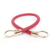 Red 13mm Width DIY Handbag Accessories Braided Pu Leather Purse Handles Handbag Straps Detachable Bunckles Length 23.6 Inches