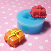 Kawaii Cute Christmas 3D Holiday Present Case Gift Box Fondant Silicone Mould for Cake Cookie Decorating Chocolate Soap Epoxy Clay Fimo Clay 005LBJ