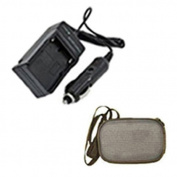 Extended Life Replacement Mini Battery Travel Charger for Specific Digital Camera and Camcorder Models / Compatible with Fujifilm NP-48, NP48, BC-48, XQ1 with Intelligent-Charge Technology - Includes Car Adapter and Hard Case Camera Bag