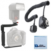 180 Degree Quick Flip rotating Flash Bracket & Heavy Duty Off-Camera Flash Cord that Stretch to 0.9m for Canon