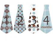 Monthly Baby Boy Tie Stickers Neck Ties Necktie Blue and Brown Argyle Plaids and Polka UNCUT Stripes Dots Ties