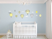 Sunny Decals Hot Air Balloons Fabric Wall Decals, Standard, Yellow