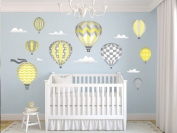 Hot Air Balloons Fabric Wall Decals - Jumbo size in Yellow - Three Colour Options Available - Set of 9 Hot Air Balloons and Clouds