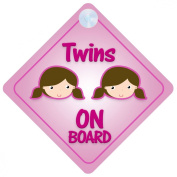 Twins Girls On Board Car Sign New Baby / Child Gift / Present / Baby Shower Surprise