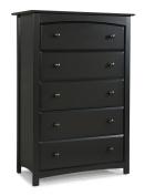 Stork Craft Kenton 5 Drawer Universal Dresser, Black