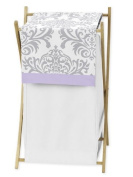 Baby/Kids Clothes Laundry Hamper for Lavender, Grey White Damask Print Elizabeth Bedding Collection