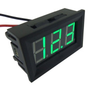 DROK 2-wire Car 1.4cm DC 3-30V 12/24V Green LED Small Digital Voltmeter Panel Volt Metre Voltage Gauge