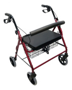 Danny's World Extra-Wide Rollator with 20cm Wheels, Removable Backrest and Shopping Basket