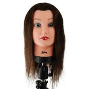 Celebrity 50cm Cosmetology Mannequin Head 100% Human Hair, Brown - Debra