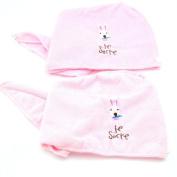 2PCS Magic Microfiber Hair-Drying Towel Cap Bath Head Wrap-Pink